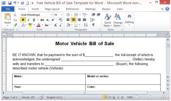 bill of sale for cars template