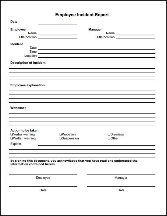 Employee Incident Report Form Free Download Online - Aashe