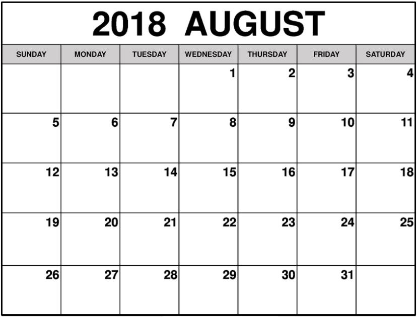 august 2018 calendar free download pdf and images. Black Bedroom Furniture Sets. Home Design Ideas