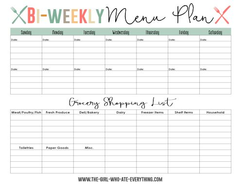 Weekly Dinner Menu Template  Free Download