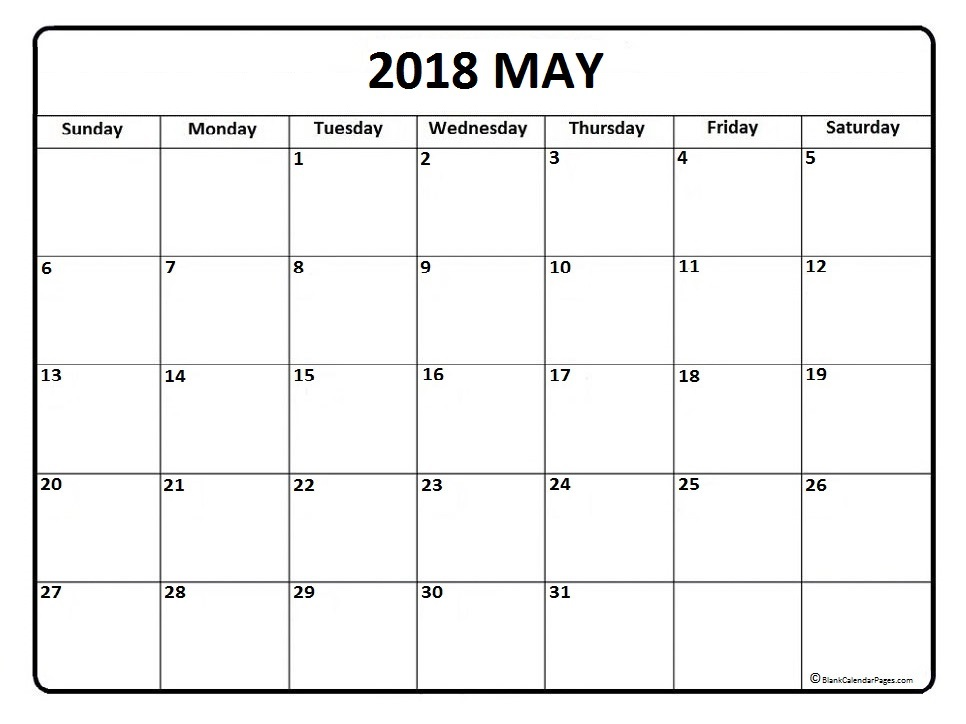 May 2018 Calendar Free Download Pdf And Images